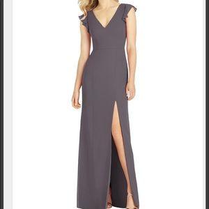 Bridesmaid Formal Prom Dress Purple Gray